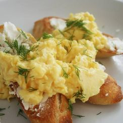 Crostini with Soft Scrambled Eggs and Chevre
