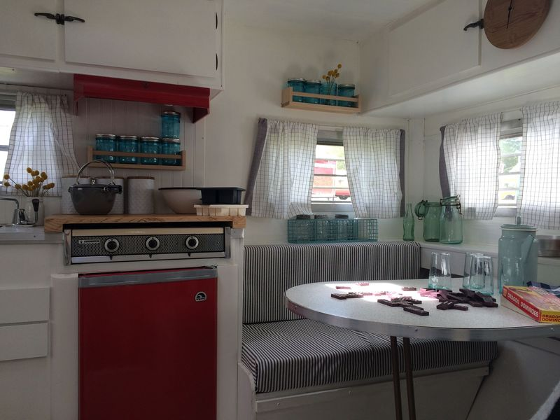 Inside the vintage camper—oh yes we did.