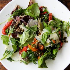 Marinated Pepper Salad with Basil, Capers & Pecorino