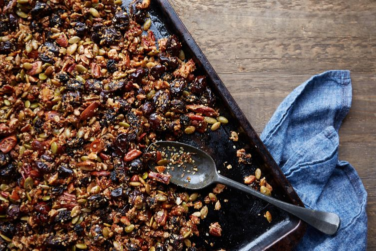 Seed, nut, and sour cherry granola