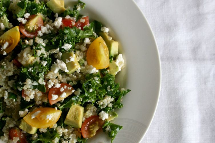 Kale and Tomato Quinoa Bowl with Lemon Mint Vinaigrette