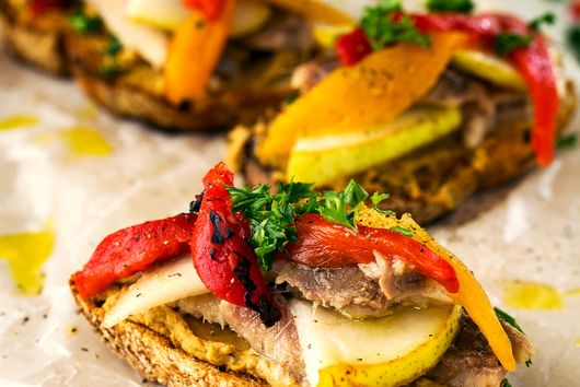 Sardine Toast with Lentil Hummus and Roasted Red Peppers