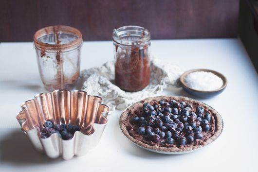 Raw Salted Chocolate Blueberry Tart