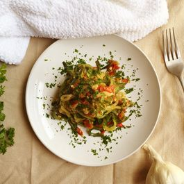 Garlic and Tomato Zucchini Noodles