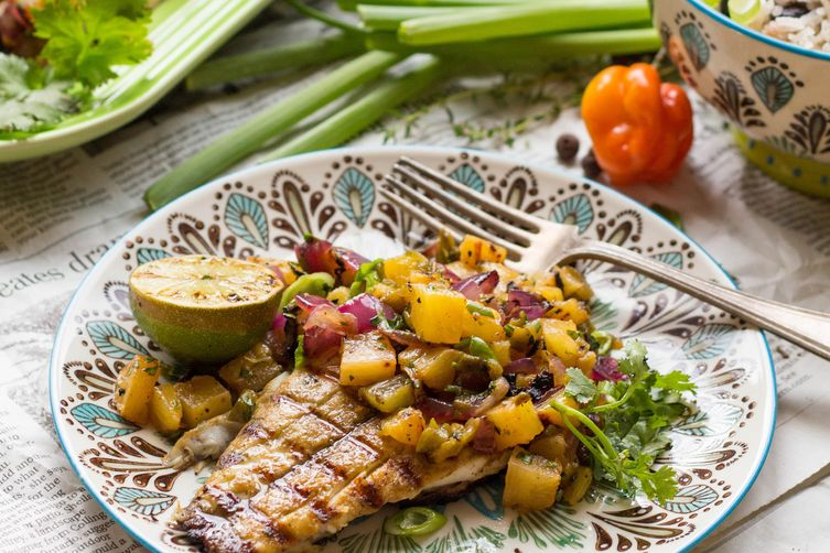 Jerked Barramundi with Grilled Pineapple Salsa