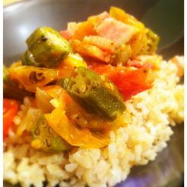 Okra and Cherry Tomatoes over Brown Rice