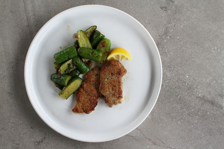 Pork Scaloppine with Sautéed Cucumbers + Spring Onions