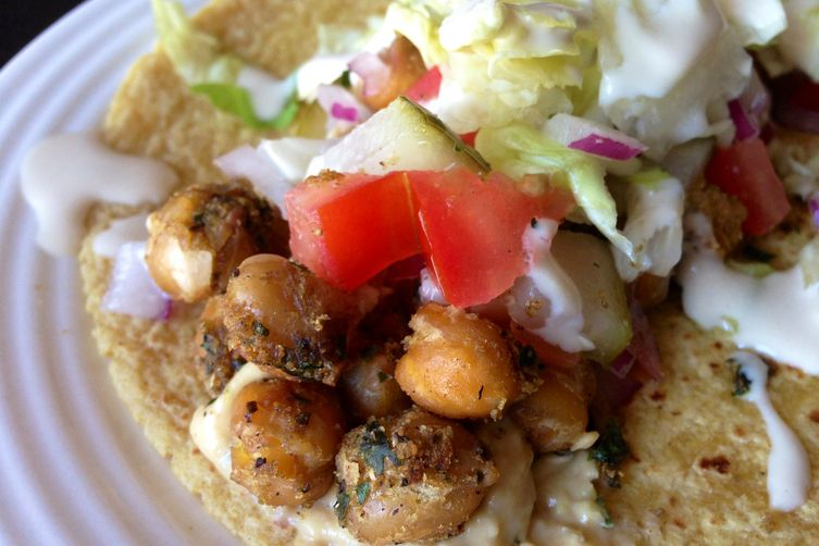 Falafel Spiced Roasted Chickpea Tacos