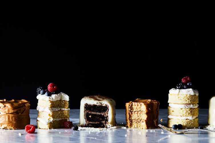 Mini Chocolate Layer Cakes with Whipped Ganache & White Chocolate Glaze