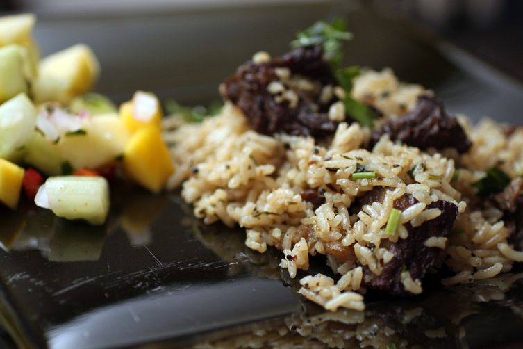Sumptuous Beef & Rice Casserole with Raw Mango Salad