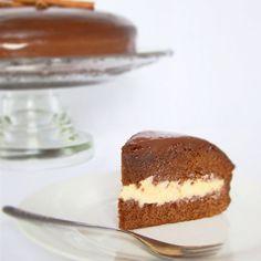 Honey Cake with White Brigadeiro Filling Covered with Chocolate Ganache