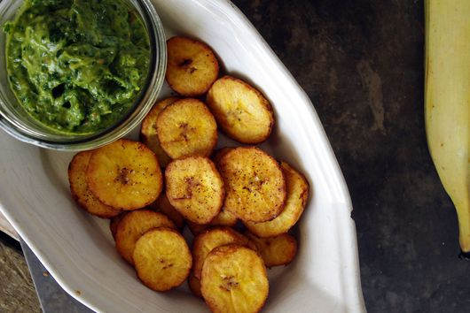 Salty Tostones with Basil Avocado Chimichurri