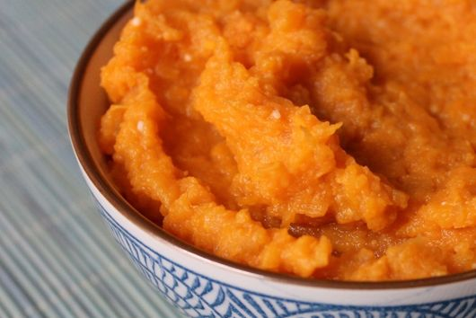 Miso-mashed sweet potatoes with coconut butter.