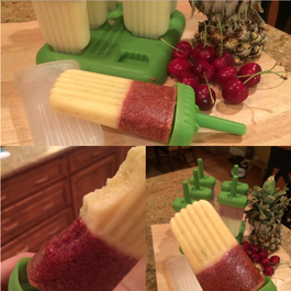 (Boozy) Pineapple, Cherry, and Lime Popsicles