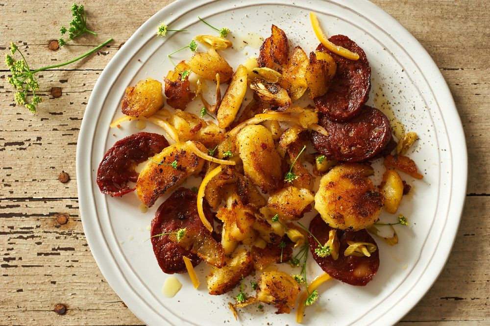 Blistered Crispy Potato-Chorizo Hash With Preserved Lemon and Parsley Flowers