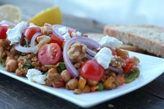 Warm Lentil Salad with Goats Cheese, Cherry Tomatoes and Walnuts