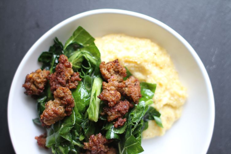 Marinated Collard Green Salad with Sausage over Gruyere Grits