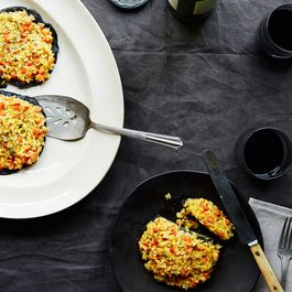 Stuffed Portobello Mushroom Caps with Roasted Root Vegetable Risotto