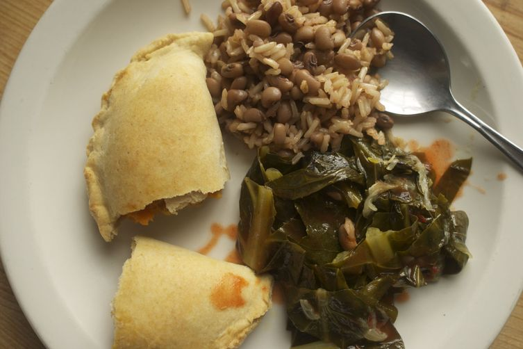 Sweet Potato Empanadas with Peas, Rice and Collards