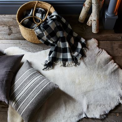 Buffalo Check Fringed Wool Throw