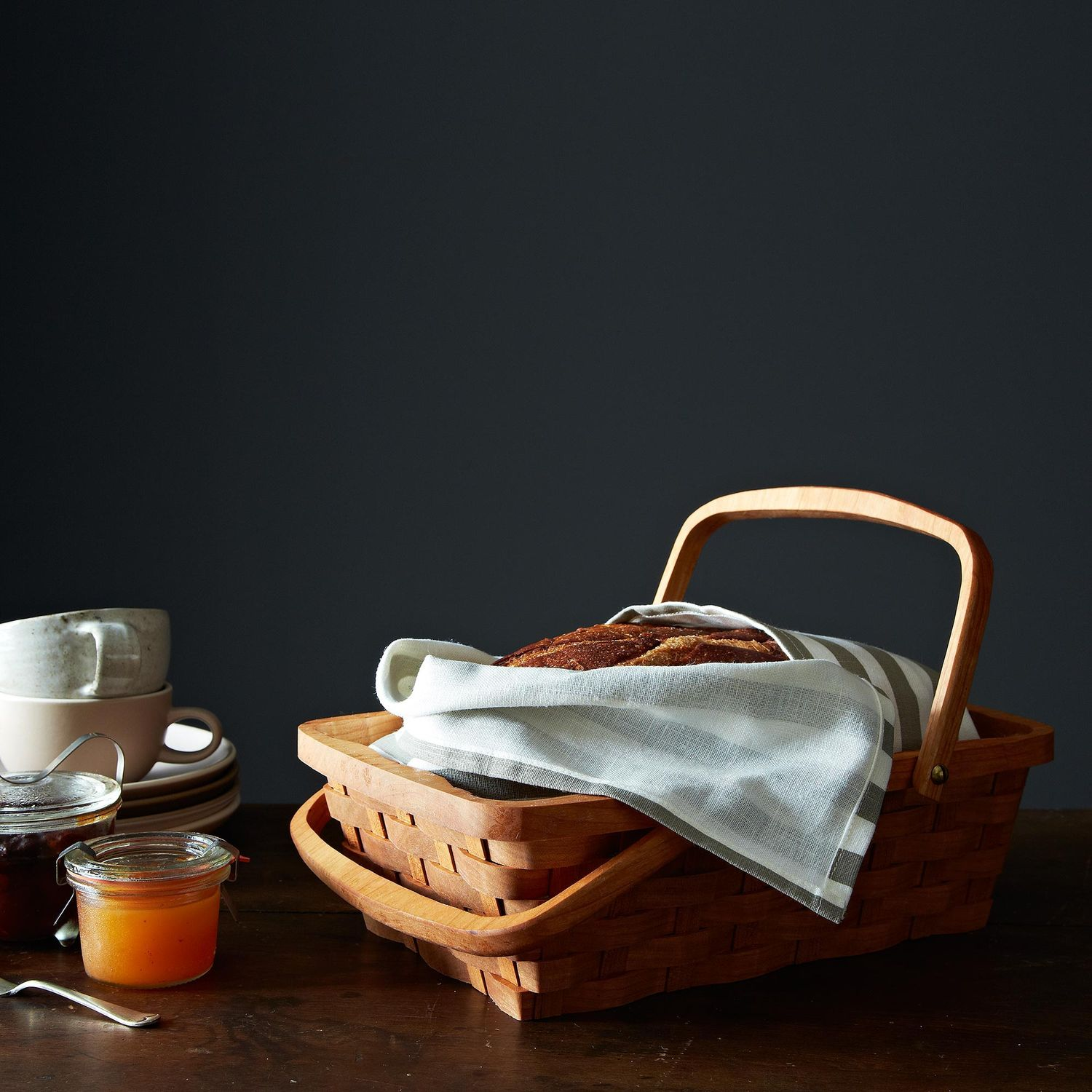 Wood Bread Serving Basket With Handles On Food52