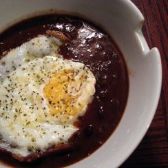 Fried Egg Over Black Bean Soup