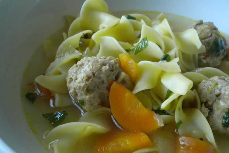Rustic Meatball Noodle Soup