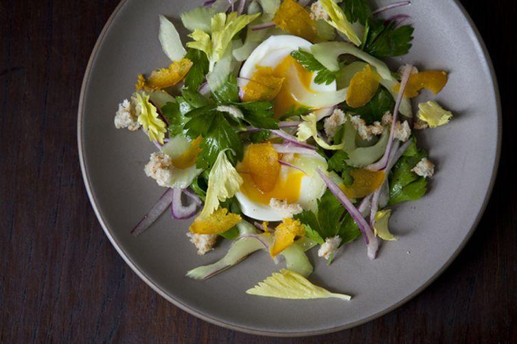 Celery Salad with Soft Boiled Egg and Shaved Bottarga