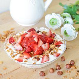 Vanilla Hazelnut Granola with Strawberries