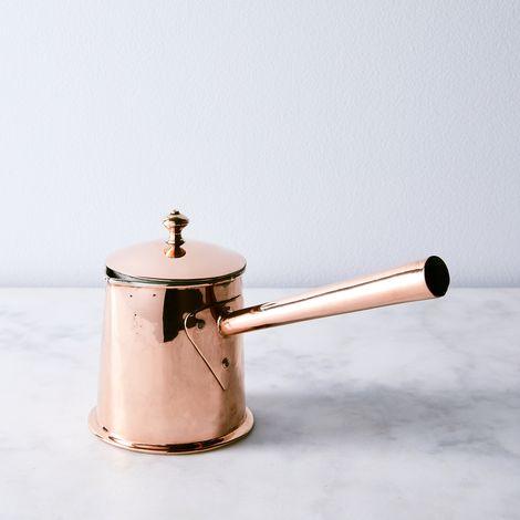 Vintage Copper English Chocolate Saucepan, Mid 19th Century