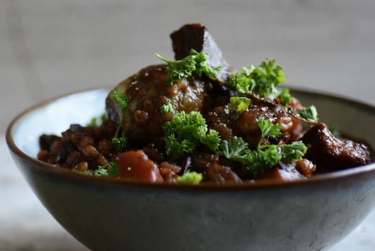 Meatless Meaty Guinness & Barley Stew With Cheese Horseradish & Herb Dumplings