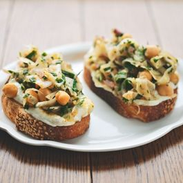 Marinated Fennel + Chickpea Salad Tartines with Whipped Feta