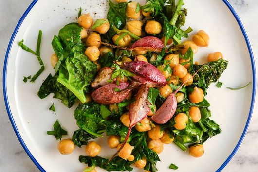 Chickpeas, Spinach, And Roasted Radishes