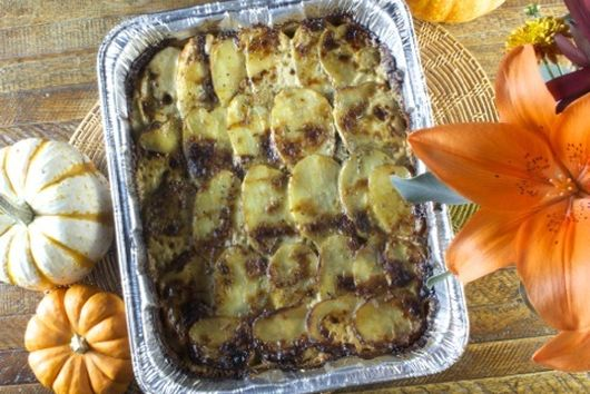 Potato gratin with mushrooms and blue cheese