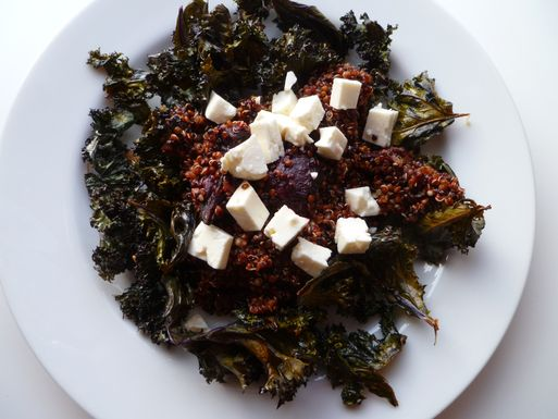 Warm Red and Black Salad with Roasted Kale