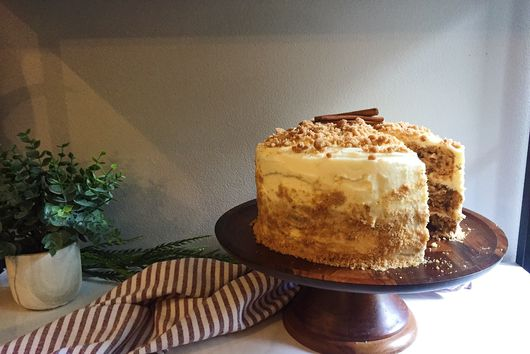 Applesauce Cake with Mascarpone Cream Cheese Frosting and Brown Butter Streusel