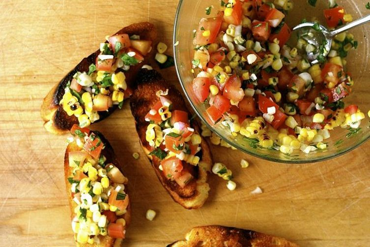 Grilled Corn and Pickled Shallot Bruschetta