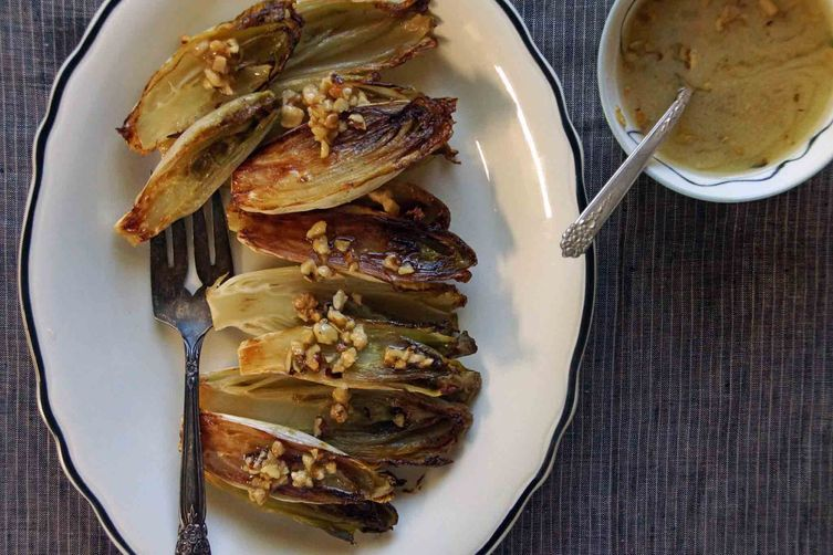 Roasted Endive with Walnut Vinaigrette