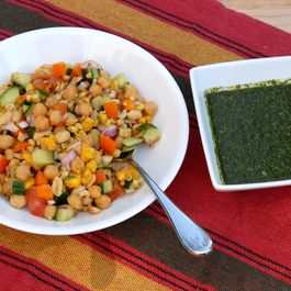 """Wildfire"" chaat - Indian chickpea salad with mint chutney"