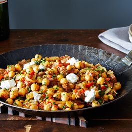 A Warm Pan of Chickpeas, Chorizo, and Chèvre