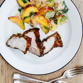 Rosie Birkett's Crispy Roast Pork with Peach Panzanella
