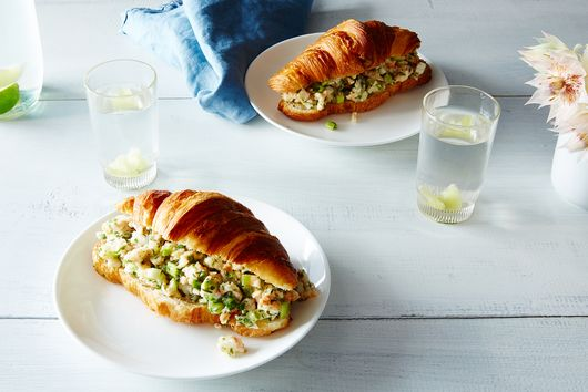"""Shrimp Salad on a Croissant with White Bean """"Mayo"""""""
