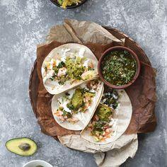 Chimichurri Salmon Tacos with Cilantro Pineapple Slaw