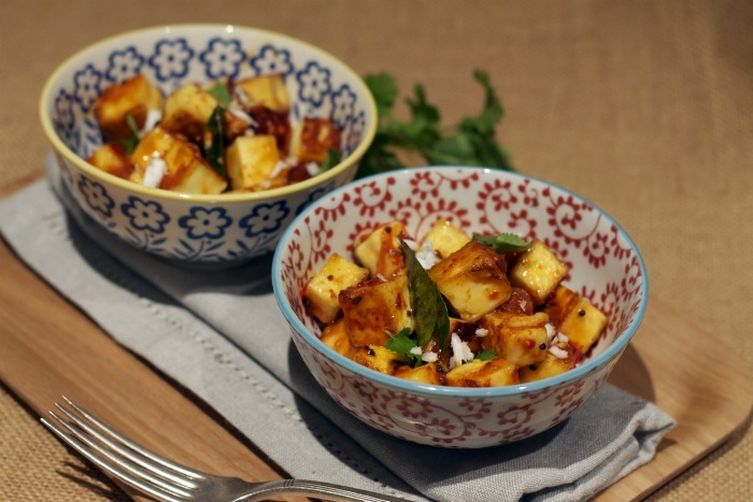 Fried Paneer cheese and Asparagus with tamarind, jaggery and coconut