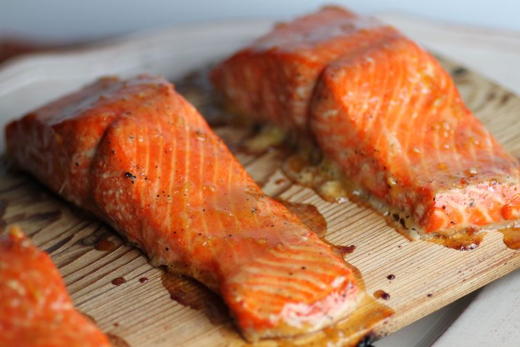 Cedar Plank Salmon with Citrus Glaze