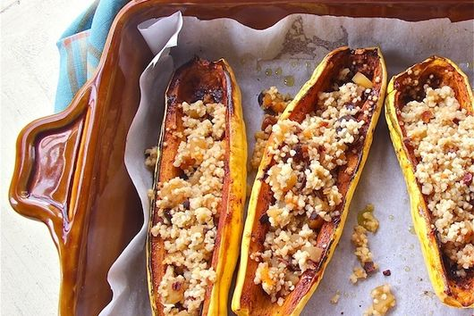 Spicy Delicata Squash Boats with Fruity Quinoa Pilaf