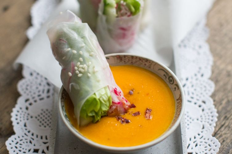 Summer Salad Rolls with a Carrot Ginger Dip Recipe on Food52