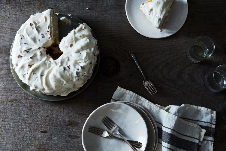 Angel Food Cake with Heath Bar Whipped Cream Icing Recipe on Food52