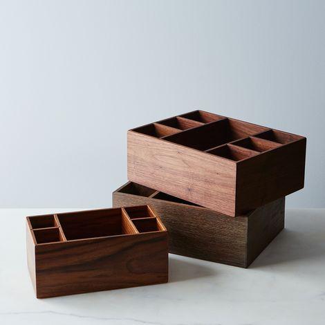 Wooden & Brass Flatware Holder