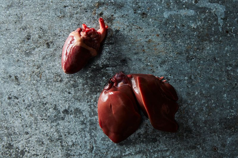 Some of the giblets: heart and liver.